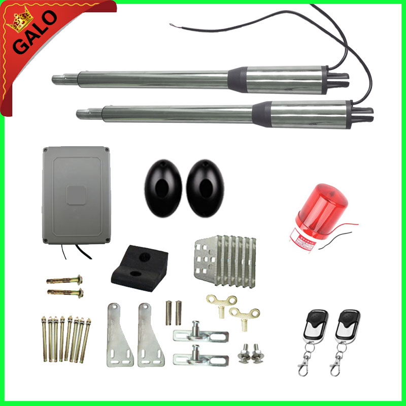 Double arms swing gate opener door motor kit with remotes ( photocells,warning light,keypad, gsm operator optional) galo 300 kg double arms swing gate opener door motor kit with 1 pair of photocells 1 alarm light