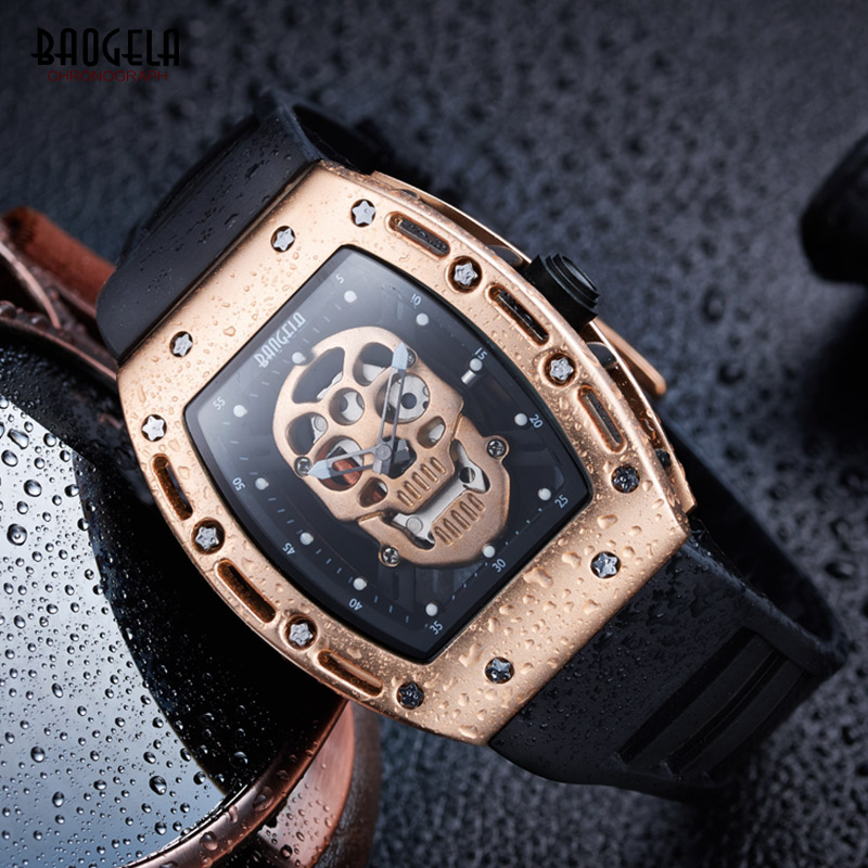 Baogela 2017 New Arrival Pirate Skull Style Quartz Men Watches Military Silicone Brand Sports Watch Waterproof Relogio Masculino skone genuine pirate skull style quartz men watches brand men military leather men sports watch waterproof relogio masculino