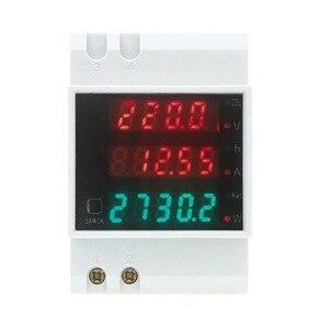 AC 80-300V 0-100A Ammeter Voltmeter Din rail LED Volt Amp Meter Display Active Power Factor Time Energy Voltage Current(China)