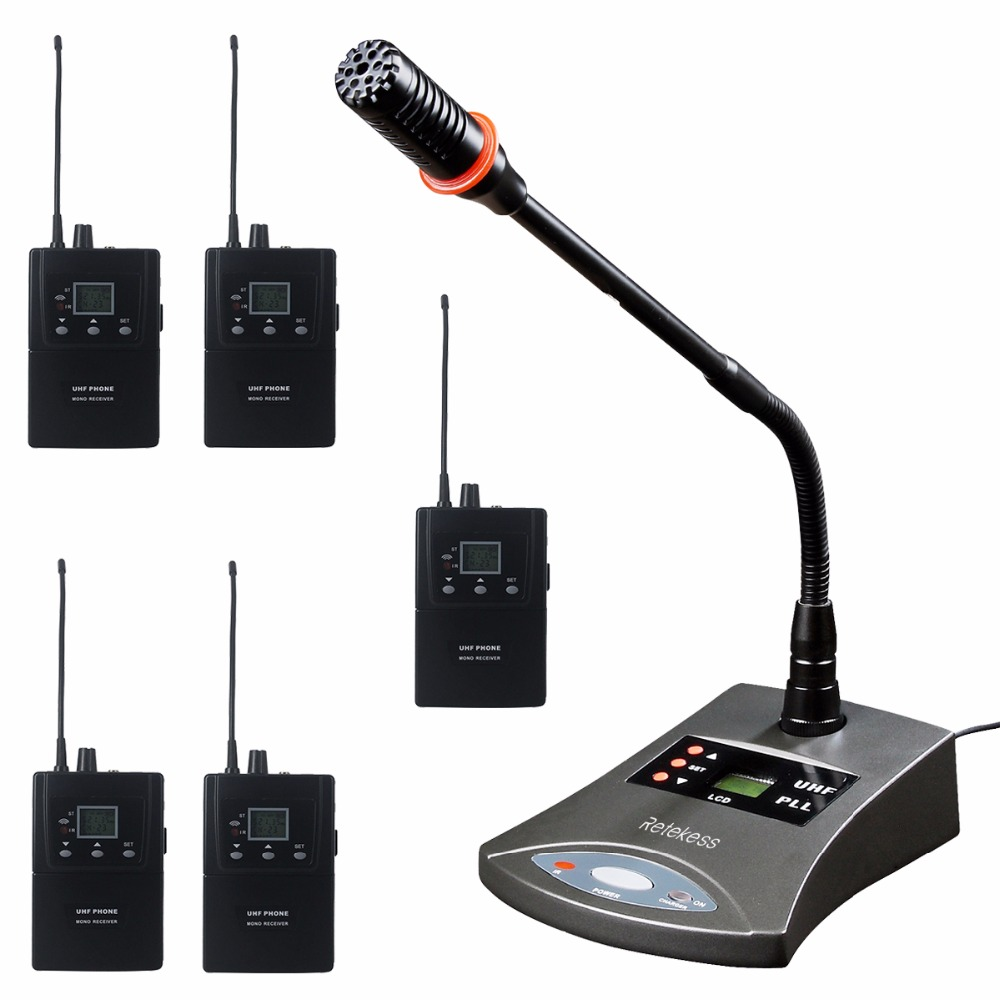 Retekess Wireless Conference System Simultaneous Interpretation With Microphone Audio Transmitter For Stage Performance Meeting earobe k 808a 8 channel wireless conference microphone system for meeting desktop standing microphone