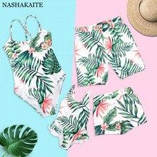 Семейный комплект купальных костюмов с принтом тропических листьев; купальный костюм для мамы и дочки; пляжные шорты для мужчин и мальчиков; Семейные комплекты