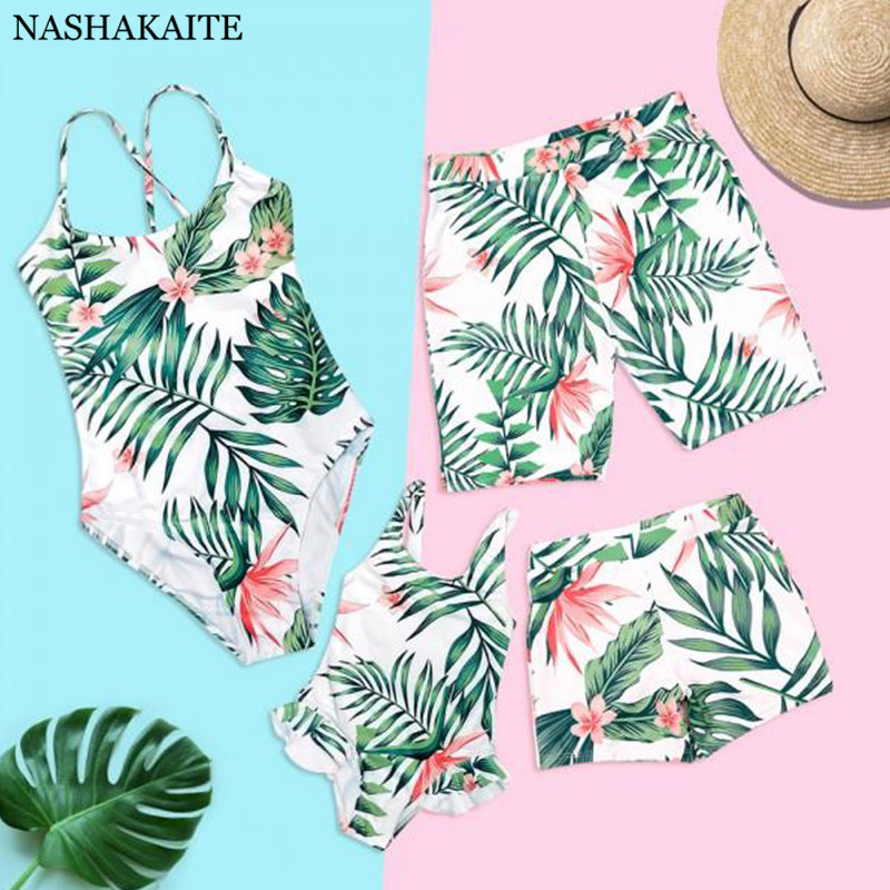 Household Matching Swimwear Tropical Leaf Print Beachwear Mae E Filha Mommy And Me Swimsuit Swimming Trunks For Children Males Household Set