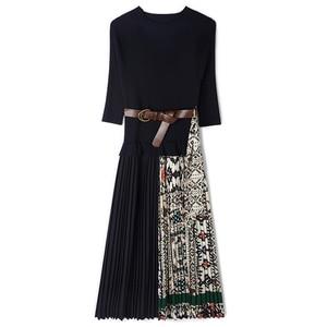 Image 3 - SEQINYY Midi Kleid 2019 Sommer Frühling Mode Design Frauen Hohe Qualität Halbe Hülse Stricken Gespleißt Drapierte Casual Kleid