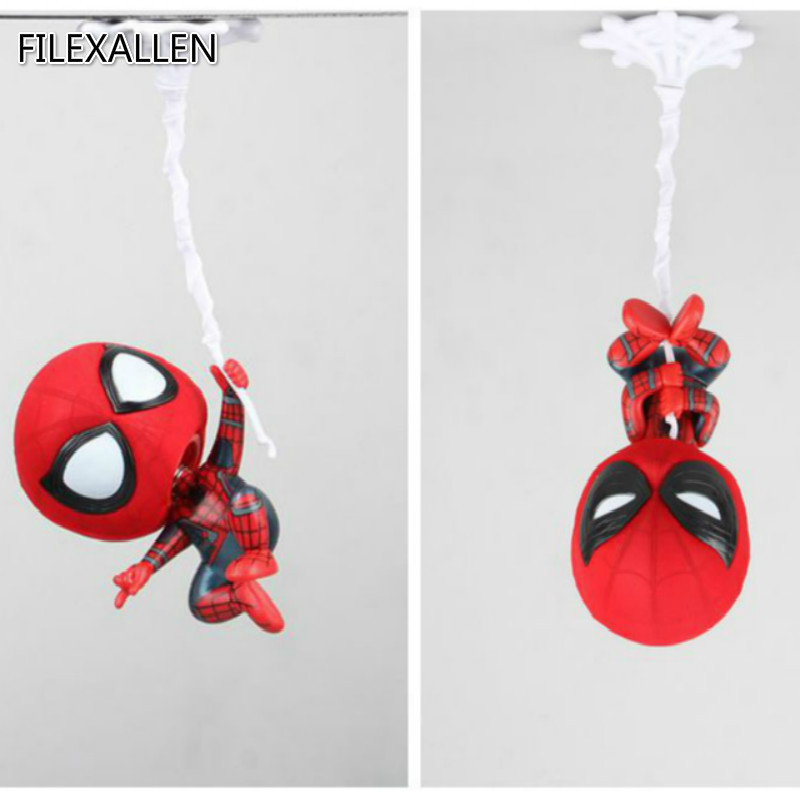 Spiderman Action Figures Toys PVC Shake Head Figures Toys with Magnet Hanging