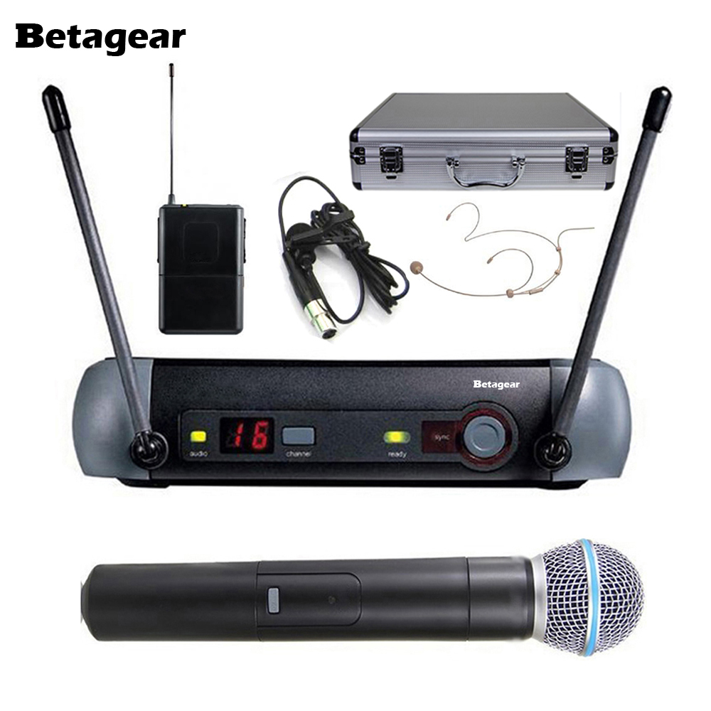 Buy Betagear PXG24 58A Single Channel UHF Vocal Wireless Microphone For karaoke System / Small Stage Handheld + Lapel + Headset Mic for $107.88 in AliExpress store