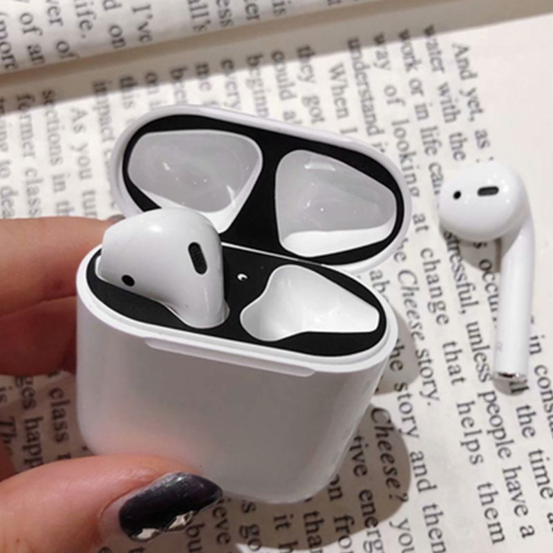 1 Pair Dust Guard Protective Sticker Earphone Case Shell Skin Dust proof for Airpods Charging Box in Earphone Accessories from Consumer Electronics