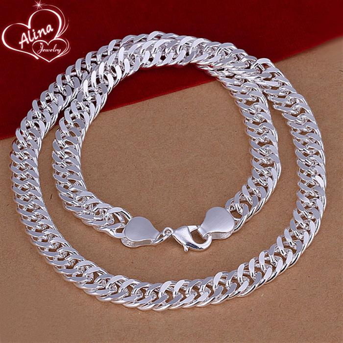 Fashion Silver Male Jewelry High Quality Silver Plated 10MM Wide 20 inches Tick Link Chains Man Necklace Cool Men Jewellry Gifts