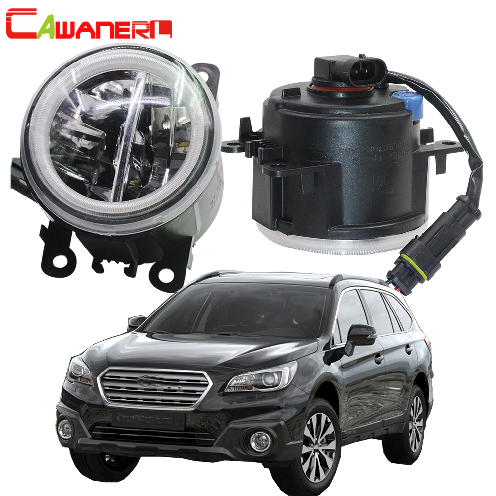 Cawanerl 2 Pieces Car 4000LM LED Bulb H11 Fog Light + Angel Eye Daytime Running Light DRL 12V For Subaru Outback 2010 2011 2012