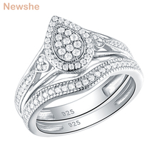 Newshe 925 Sterling Silver Wedding Rings For Women Pear & Heart Shape Round Cut AAA CZ Engagement Ring Bridal Set Trendy Jewelry