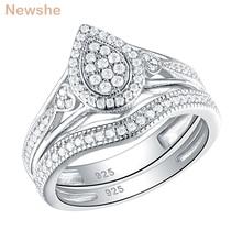 Newshe 925 prata esterlina anéis de casamento para as mulheres pêra & coração forma redonda corte aaa cz anel de noivado conjunto de jóias na moda