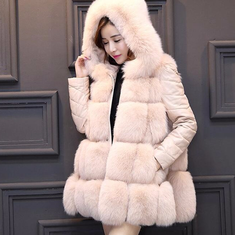 HAISUM 2018 de fourrure printemps nouveau couture renard manteau de fourrure dans la longue section du commerce extérieur femmes de manteau de fourrure gilet NV054