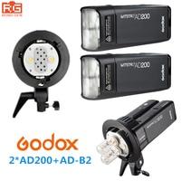 Godox AD200 высокое Скорость TTL Встроенный 2.4 г Беспроводной съемки на открытом воздухе SLR Flash карманные фонари + ad b2 для Canon Nikon fuji Камера
