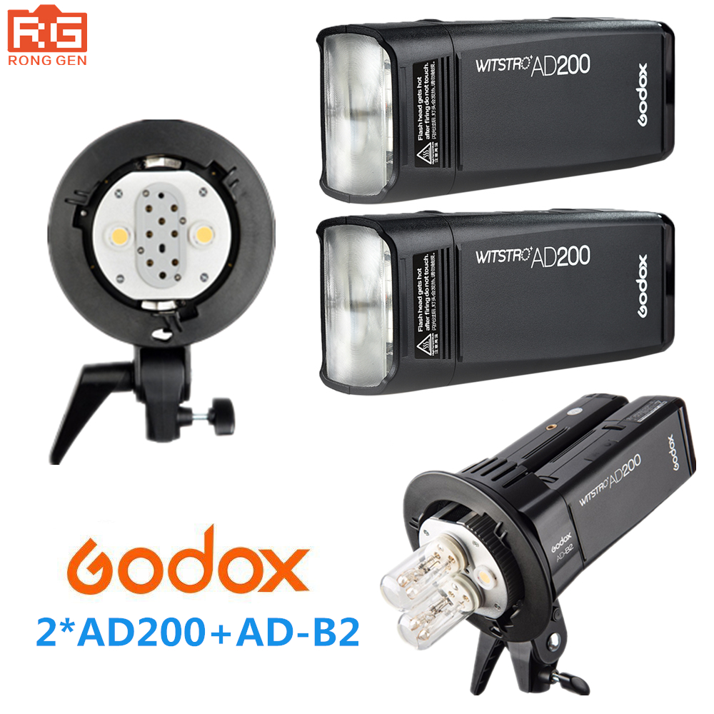 Godox AD200 высокое Скорость ttl встроенный 2.4g беспроводное устройство съемки на открытом воздухе SLR flash карманные фонари + AD-B2 для Canon Nikon Fuji Камера