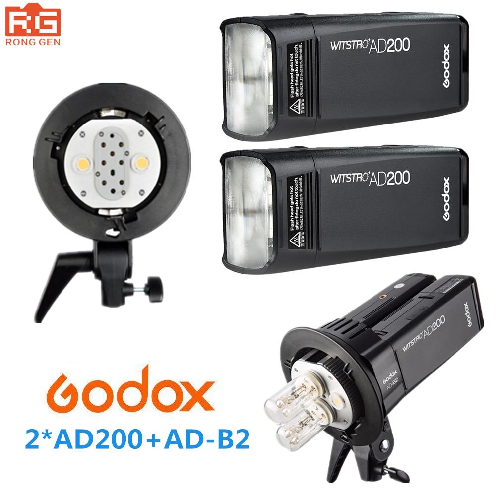 Godox AD200 Haute Vitesse TTL Intégré 2.4G Sans Fil En Plein Air tir REFLEX flash lampes De Poche + AD-B2 pour Canon Nikon Fuji caméra