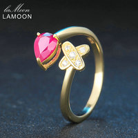 LAMOON 2017 New Romantic Cross Teardrop Real Natural Ruby Rings S925 Sterling Silver Jewellry for Women Party Ring Anillos Mujer