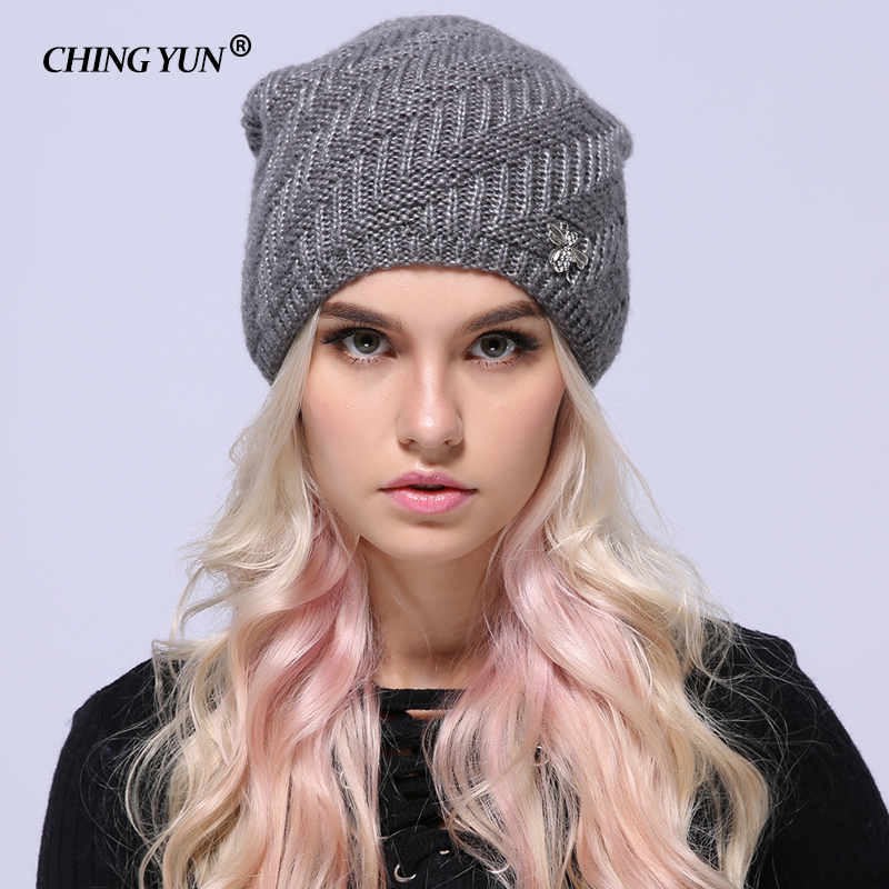 2018 Winter Autumn Knitted Soft Cashmere Folds Thick Warm Winter Hats For Women's Caps Skullies Beanies Female Fashion Casual