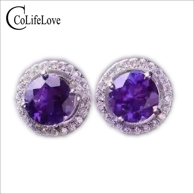 village the goldsmith stud earrings amethyst