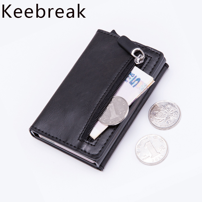 KEEBREAK Anti Rfid Card Smart Wallet Men Vintage PU Leather Pop UP Magic Wallet Small Metal Trifold Wallet Money Bag Vallet 2019(China)