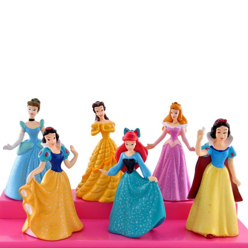 Mifen Craft 6pcs/set Princess Animators Princess Sofia Snow White Ariel Rapunzel Merida Cinderella Aurora Belle Princess dolls