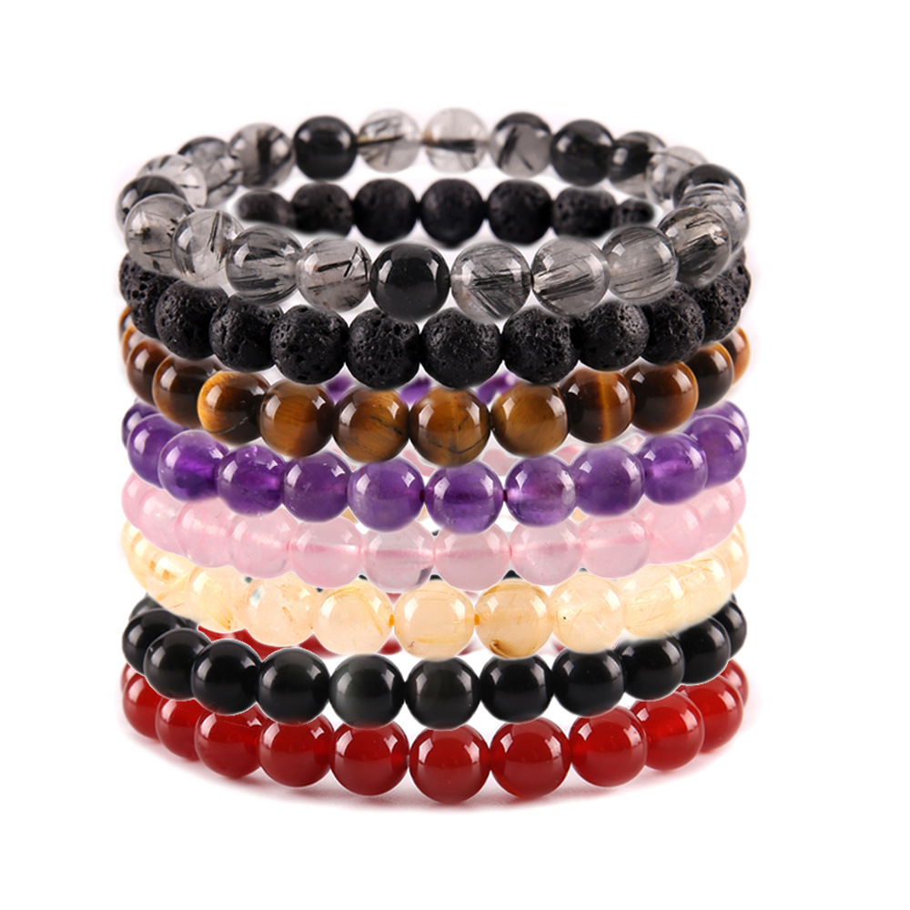 2018 Fashion Natural Stone Men Bracelet Black Lava Howlite Crystal Beads Mala Yoga Bracelets For Women Jewelry Drop Shipping Activating Blood Circulation And Strengthening Sinews And Bones