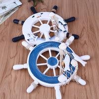 Wooden Boat Ship Wheel Nautical Rudder Beach Home Hanging Wall Decor Tools