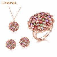 New Fashion Colorful CZ Diamond Jewelry Sets Rose Gold Plated Crystal Necklace Earrings Rings Bridal Wedding