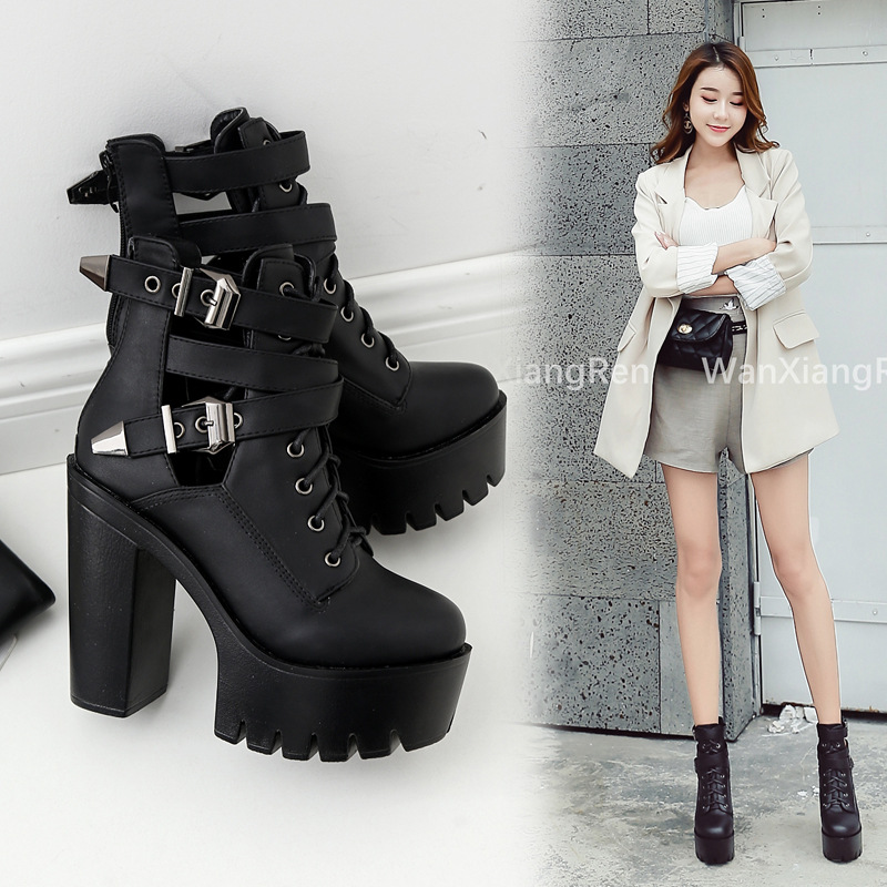 Girls Ankle Boots Casual Winter Star Buckle Smart Black Fuax Leather 6-12UK