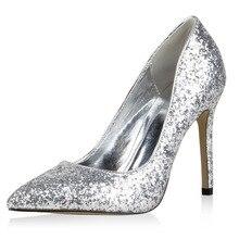 Amourplato frauen High Heel Glitter Pumpen Spitz Schlupf An Brautkleid Pumpen Glänzende Bling Schuhe