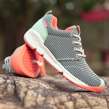 2016 New Spring Women Running Shoes Light-Up Trainers, Original brand Gray Sports Breathable Champagne Women Outdoor Sneakers