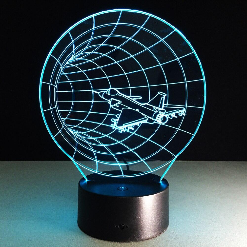 Уникальный 3D эффект время полета Форма светодиодный ночник с USB настольная лампа для детей Спальня украшения самолета bulbing лампа