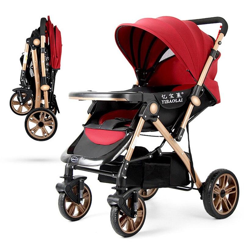 Bébé poussette Portable pliant bébé chariot haut paysage parapluie bébé enfant pratique poussette coupe-vent pied couverture
