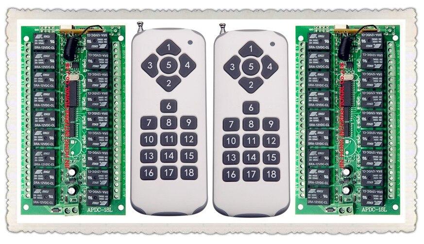 DC12V 18CH реле удаленного коммутатора 2 * приемник 18 кнопки пульта дистанционного 2 * передатчик свяжитесь с RX TX спросить свет лампы умный дом Бес...