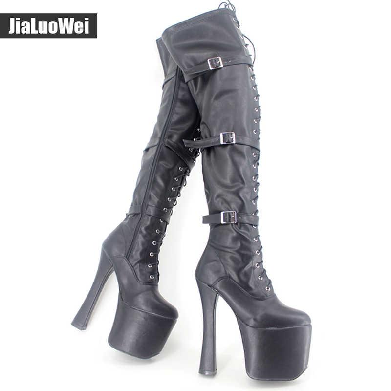 """Jialuowei 7 1/2 """"chunky gót XTC-3028 ren lên nền tảng khởi động Womens 20 cm Gót Cực Nhảy Múa Giày Trên Đầu Gối đùi Cao Chân Khởi Động Khởi Động"""