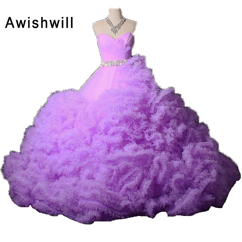 Fashion Sweetheart Lace-up Back Beaded Tulle Cloud Puffy Ball Gown ...