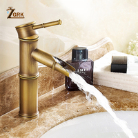 Antique Brass Waterfall Bathroom Sink Faucet Vessel Tall Bamboo Water Tap Retro Single Hole Basin Faucets