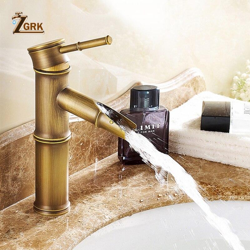 ZGRK смеситель для ванной комнаты, латунные смесители для раковины, роскошный кран, высокая бамбуковая горячая и холодная вода с двумя трубам