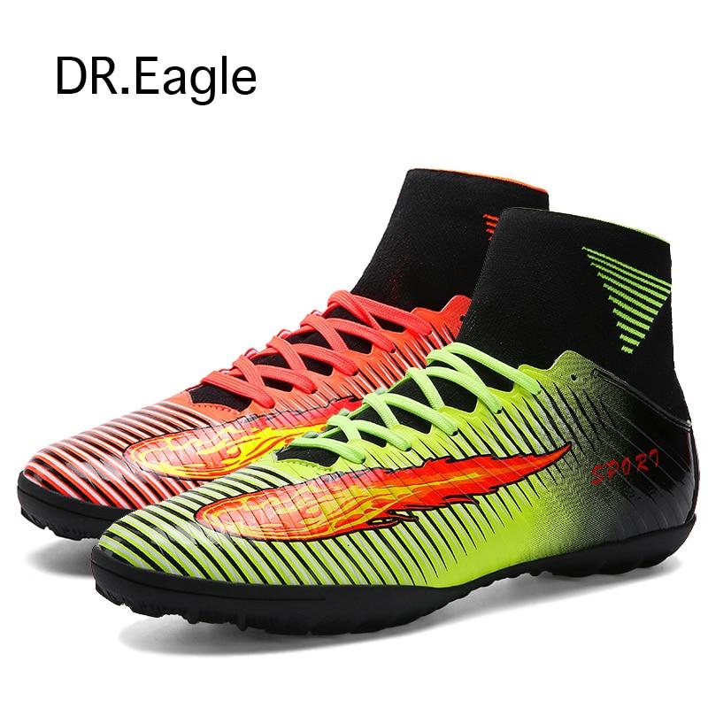 Schoenplaatjes Indoor kunstgras indoor voetbalschoenen voor voetbal heren sportschoenen originele voetbalschoenen met enkelbandjes 2016 Gratis verzending