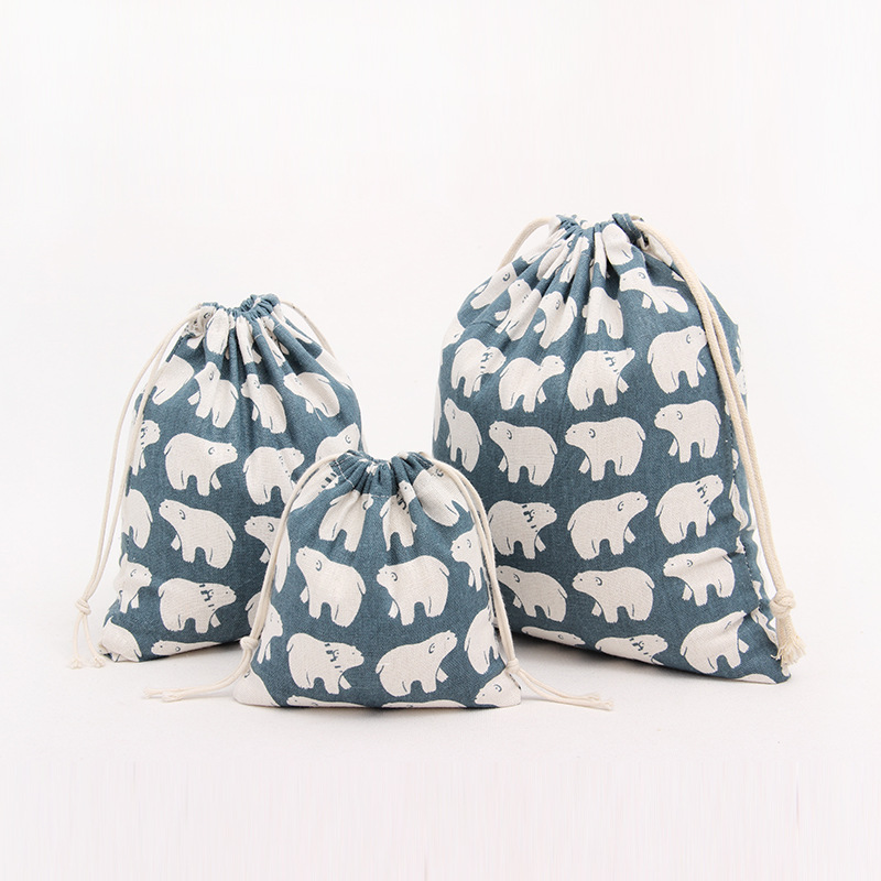 1pcs White Bear Blue Drawstring Cotton Linen Storage Bag Gift Candy Tea Jewelry Organizer Makeup Cosmetic Coins keys Bags 49017