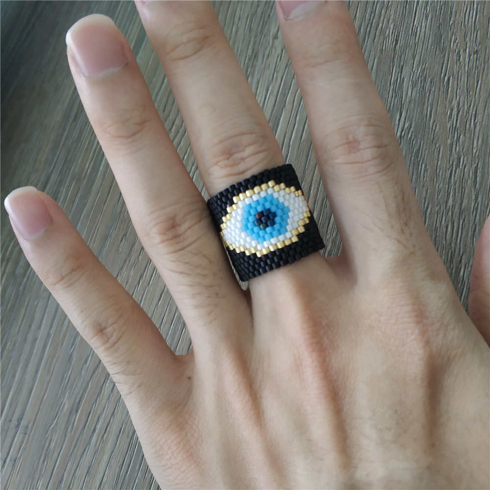 Evil Eye Ring 24k Gold plated adjustable beaded or enameled Turkish hand made jewellery YZK151