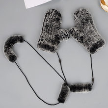 MIARA.L wholesales otter rabbit fur hand-knitted mittens and thick thermal winter hanging rope gloves
