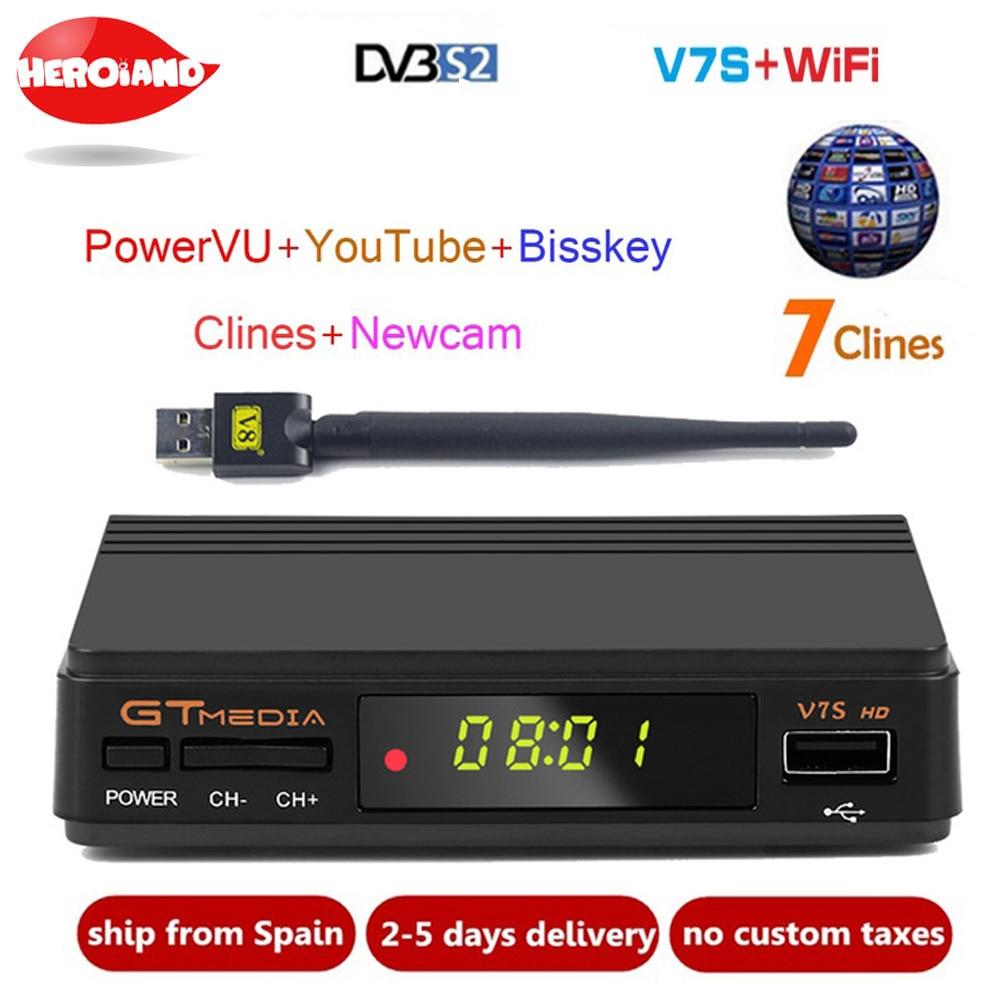New GTmedia v7 Upgrade Digital Satellite TV receiver Full 1080P DVB S2 V7S HD USB WIFI