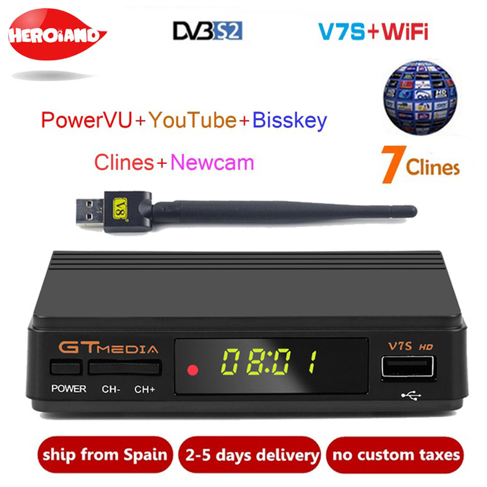 Nuovo GTmedia v7 Aggiornamento TV Digitale Satellitare ricevitore Full 1080 p DVB-S2 V7S HD + WIFI USB con 1 Anno europa clines Decoder TV Box