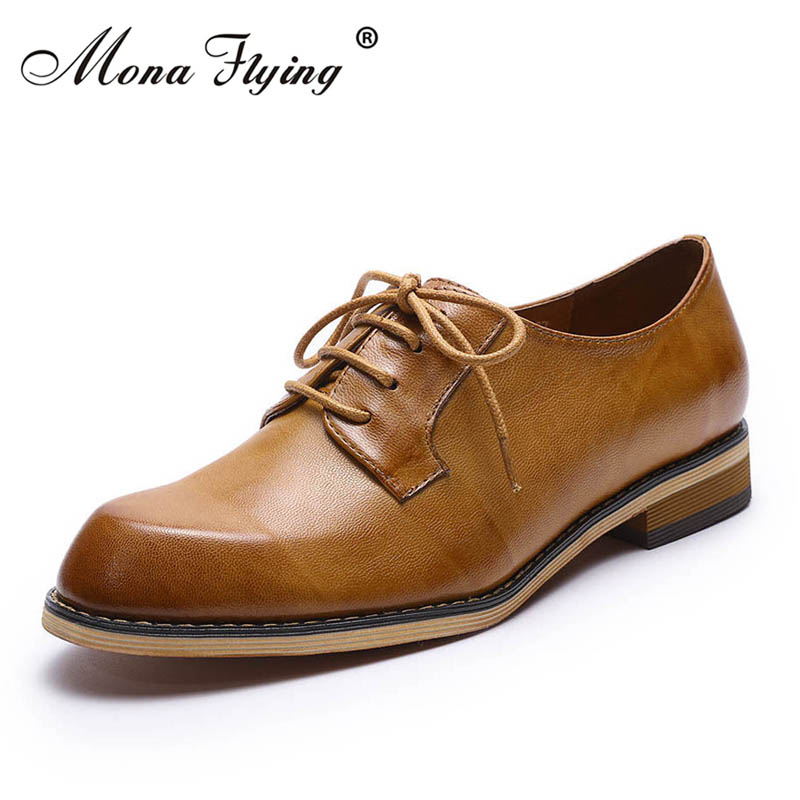 Women Flats Oxfords Shoes 2018 New Brand Genuine Leather Women Lace-up Casual Brogue Shoes for Women Handmade Flat Shoes FLX20-1 qmn women crystal trimmed brushed embossed leather brogue shoes women square toe oxfords shoes woman genuine leather flats 34 43