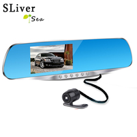 SLIVERYSEA Camera FHD Led Rearview Mirror Car Dvr 1080P Night Vision Video Recorder with Two Lenses Auto Dash Cam Recorder