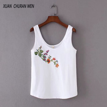 Summer Undershirt Women Sleeveless Floral Embroidery T-shirt White Cotton Tops Women Camisole Cami Shirt Slim Vest SD8089