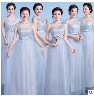 0df957dd10ec Real Photo Si Grey A Line Fashion Fromal Long Style Bridesmaid Dresses  Girls 2018 Sleeveless Lace Belt Vestidos