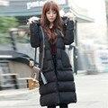 Верхняя одежда Зима Черный Длинный Тонкий Вниз хлопка ватник женщин дамы реального ракун шуба куртка женщины толстые теплые пальто TT155