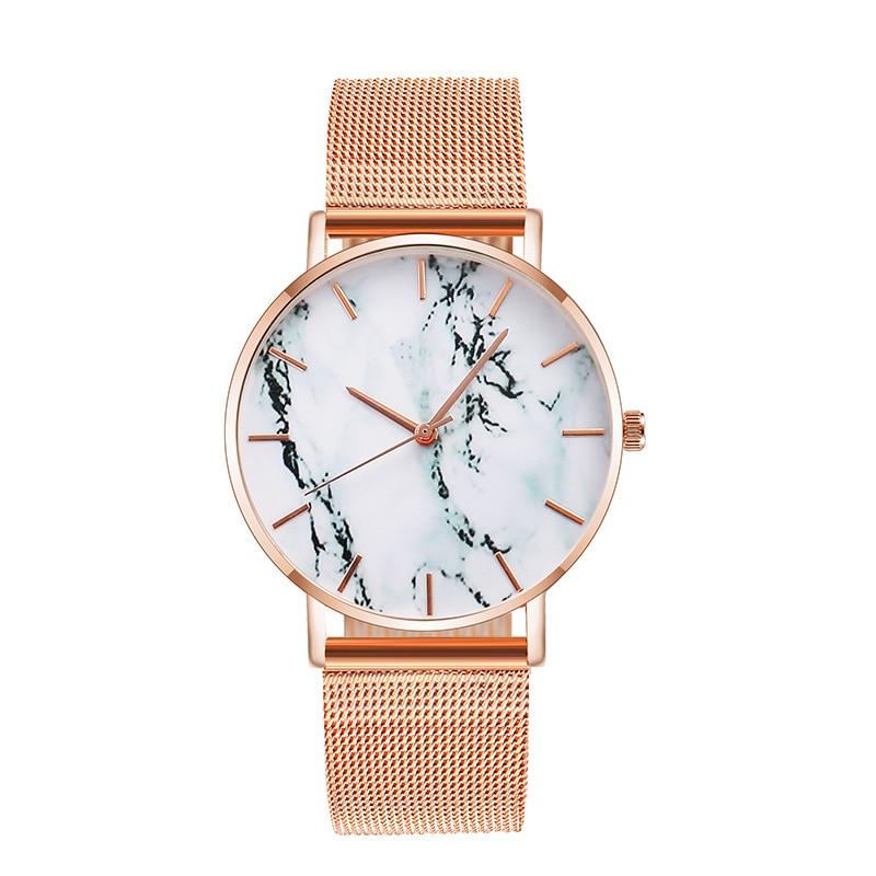 Модные креативные женские наручные часы из розового золота с сетчатым ремешком, роскошные женские кварцевые часы, подарки, Relogio Feminino, Прямая...