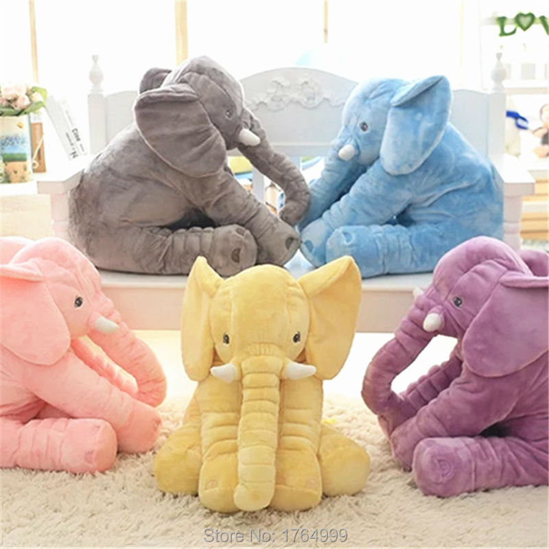цены High Quality Christmas Kids Gift 60cm Colorful Giant Elephant Stuffed Animal Toy Animal Shape Pillow Baby Toys Home Decor