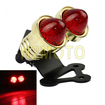 Brass Motorcycles LED Taillights Fender Mount Mini Bracket for Chopper Cafe Racer Universal Twin Whisky Brake Lamp